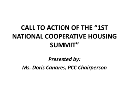 "call for action of the ""1st national cooperative housing summit"""