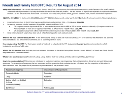August 2014 Friends and Family Test Report