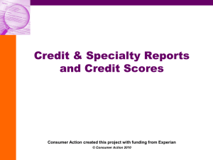 Credit & Specialty Reports And Credit Scores