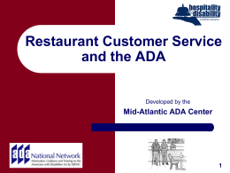 Restaurant Customer Service and the ADA