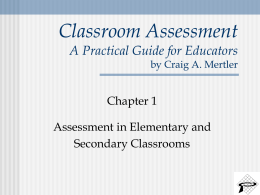 Classroom Assessment A Practical Guide for Educators by Craig A