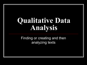 Lecture 6: Qualitative Data Analysis