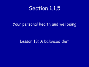 Lesson 13 A Balanced Diet