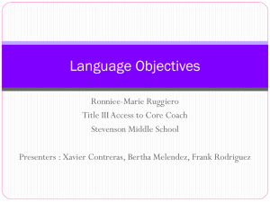 Language Objectives - Stevenson Middle School