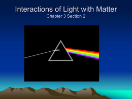 Interactions of Light with Matter Chapter 3 Section 2