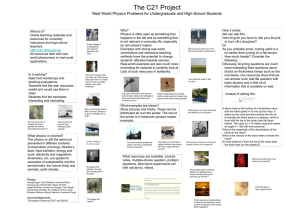The C21 Project Real World Physics Problems for Undergraduate
