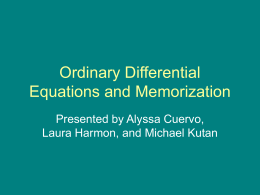 Ordinary Differential Equations and Memorization