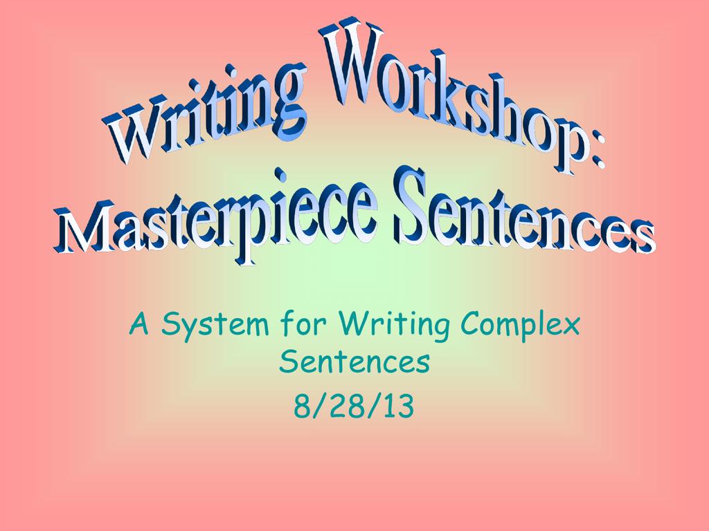 Masterpiece Sentences - Alliance Gertz
