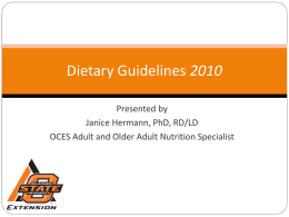 Nutrition for Older Adults Dietary Guidelines