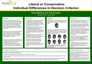 Individual Differences In Decision Criterion Robyn Matthews & Dr