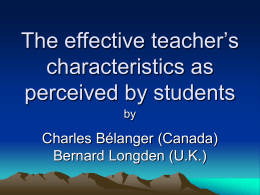 The effective teacher`s characteristics as perceived by students