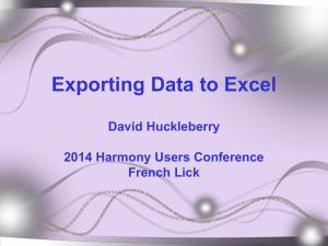 SESSION 3_2014 Exporting Data to Excel
