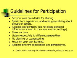 Guidelines for Participation