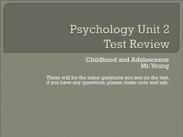 Psychology Unit 2 Test Review Game