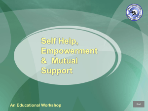 Self-Help, Peer Counseling & Mutual Support