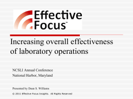 Increasing overall effectiveness of laboratory operations