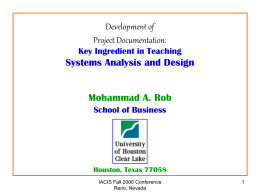 Teaching Systems Analysis and Design