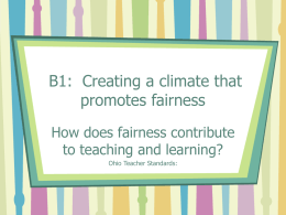 B1: Creating a climate that promotes fairness