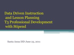 Data Driven Instruction and Lesson Planning T3