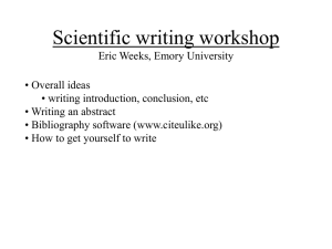 Scientific writing workshop Eric Weeks, Emory University