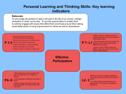 Pupil Learning and Thinking Skills