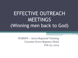 Effective Outreach Meetings
