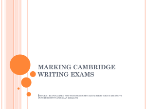 MARKING CAMBRIDGE WRITING EXAMS