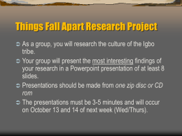 Things Fall Apart Research Project
