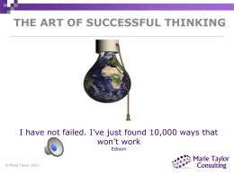 Workshop - Marie Taylor - The art of successful thinking
