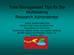 Time Management Tips for the Multitasking Research Administrator