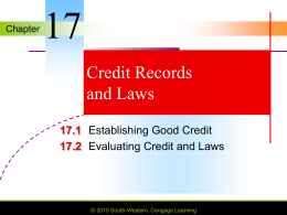 Chapter 17 Credit Records and Laws