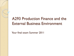 A293 Production Finance and the External