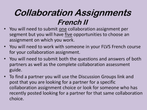 Collaboration Assignments French I
