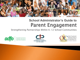 Parent Engagement - Ontario Principals` Council