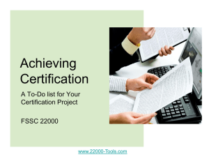 A To-do List for FSSC Certification