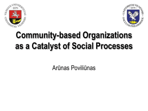 Community-based Organizations as a Catalyst of Social