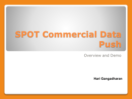 SPOTCommercial Data Push Overview