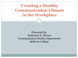 October 17, 2013 - Healthy Communications Climate