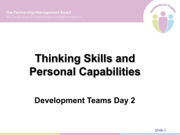 Thinking Skills and Personal Capabilities