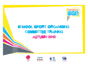 School Sport Organising Committee Training Ideas
