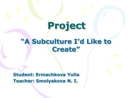 "Project ""A Subculture I`d Like to Create"""