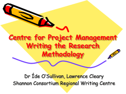 Centre for Project Management: Writing the Research Methodology