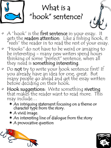 "What is a ""hook"" sentence?"