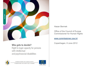 The Council of Europe Commissioner for Human Rights