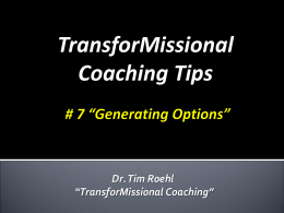 Coaching Tips #8 Generating Options