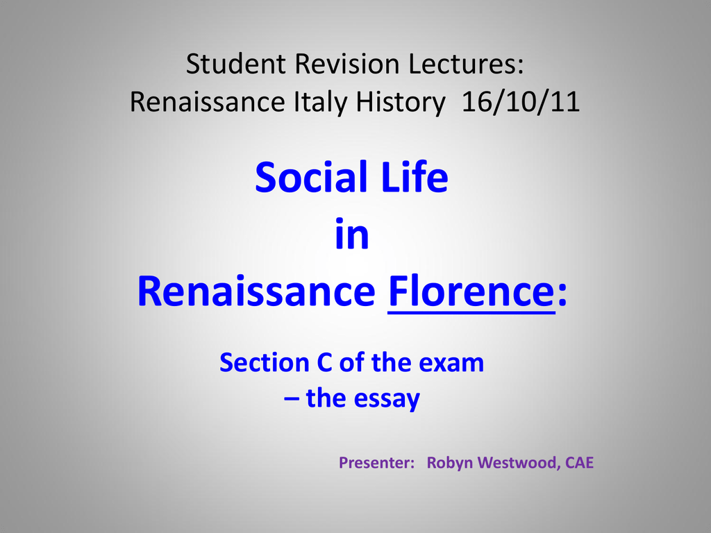 student revision lectures renaissance history