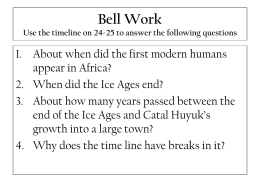 Bell Work Use the timeline on 24-25 to answer the following questions