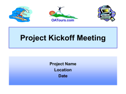 Kickoff Meeting Presentation