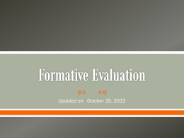Formative Evaluation - Bay District Schools