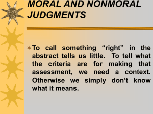 MORAL AND NONMORAL JUDGMENTS